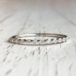 Delicate Diamond half Eternity Band with Minimal Settings