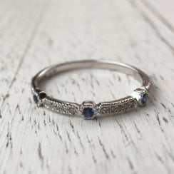 Diamond and Sapphire Geometric Stacking Ring