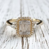 Diamond baguette Illusion Cluster Ring
