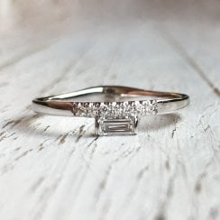 Diamond Baguette Ring in White Gold