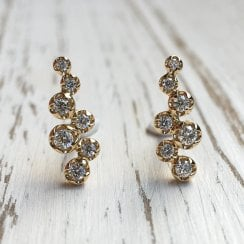 Richard Woo Diamond Cloud Climber Stud Earrings in Yellow Gold