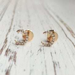 Diamond Crescent Moon Stud Earrings in Rose Gold