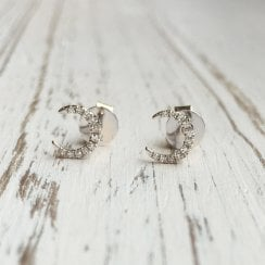 Diamond Crescent Moon Studs in White Gold