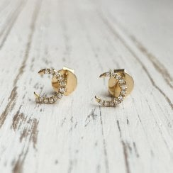 Diamond Crescent Moon Studs in Yellow Gold