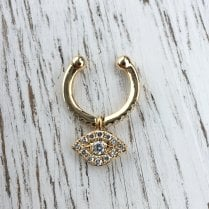Diamond Eye Ear Cuff in Yellow Gold