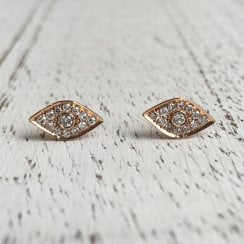 Diamond Eye Stud Earring in Rose Gold