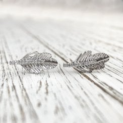 Diamond Feather Stud Earrings