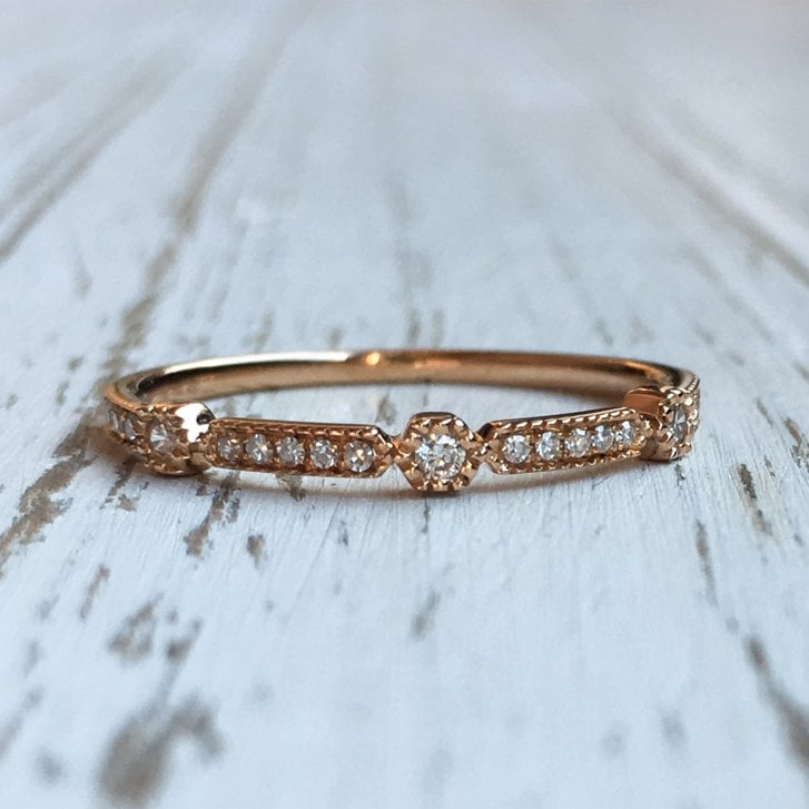 Richard Woo Diamond Geometric Stacking Ring in Rose Gold