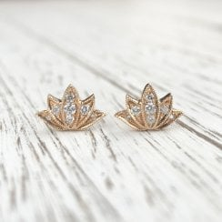 Diamond Lotus Stud Earrings