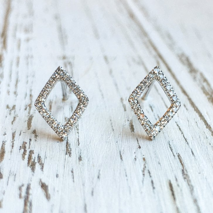 Richard Woo Diamond Lozenge Stud earrings in White Gold