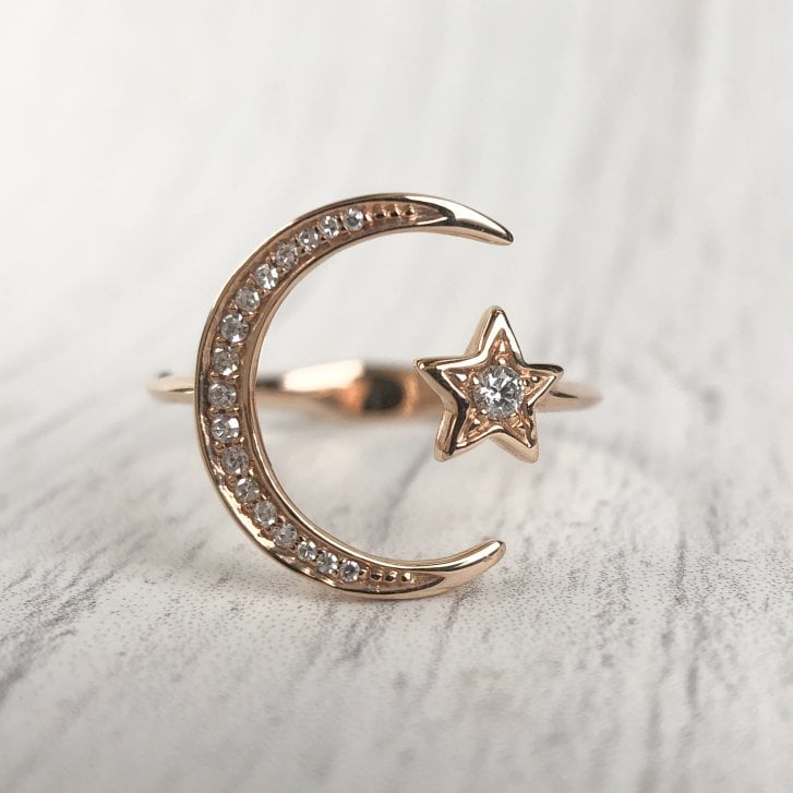 Richard Woo Diamond Moon Crescent and Star Open Ring