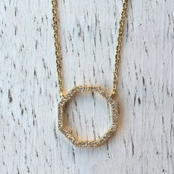 Richard Woo Diamond Octagon Necklace in Yellow Gold