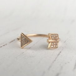 Diamond Pave Open Arrow Ring in Rose Gold