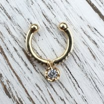 Diamond Pendant Ear Cuff in Yellow Gold