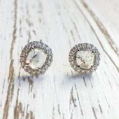 Diamond Slice Halo Earrings