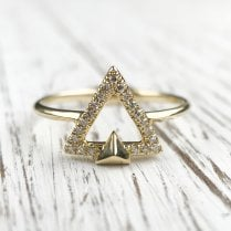 Diamond Triangle Ring in Yellow Gold