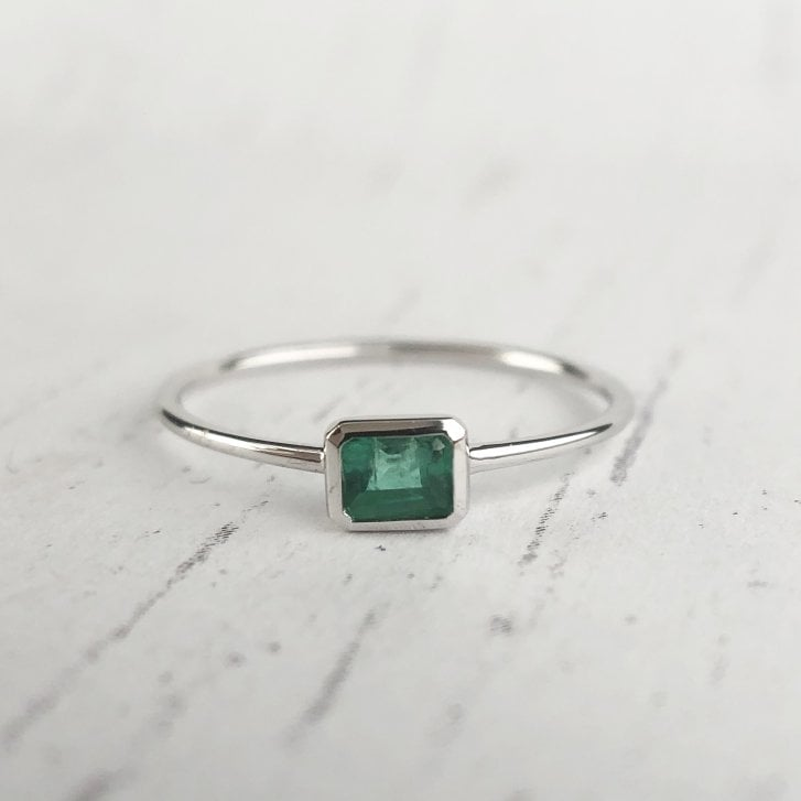Richard Woo East West Emerald Stacking Ring in White Gold