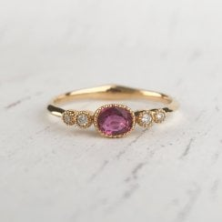 East West Ruby Ring with Diamond Shoulders