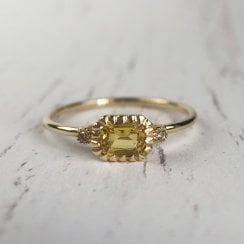 Richard Woo East- West Yellow Sapphire Dainty Ring