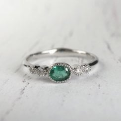 Richard Woo Emerald and diamond engagement ring in white gold