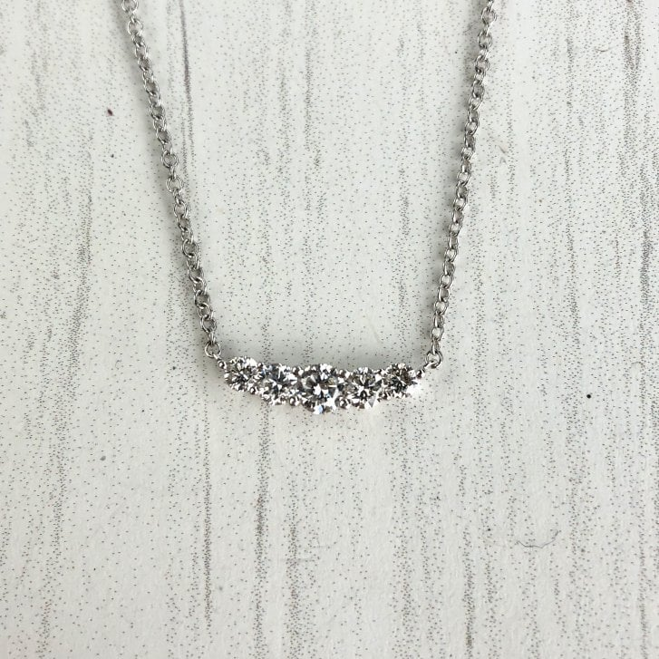 Richard Woo Five Graduated Diamonds Necklace in White Gold