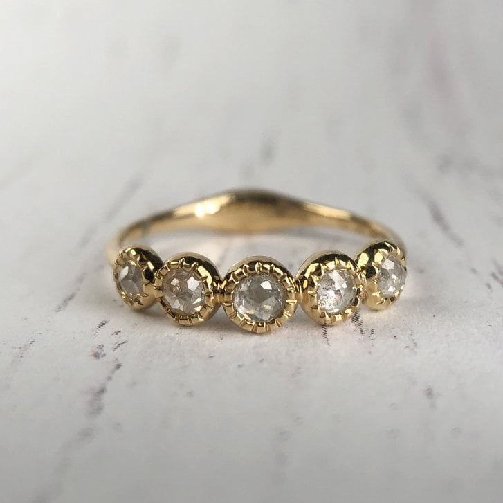 Richard Woo Five Rose Cut Diamond Ring In Gold
