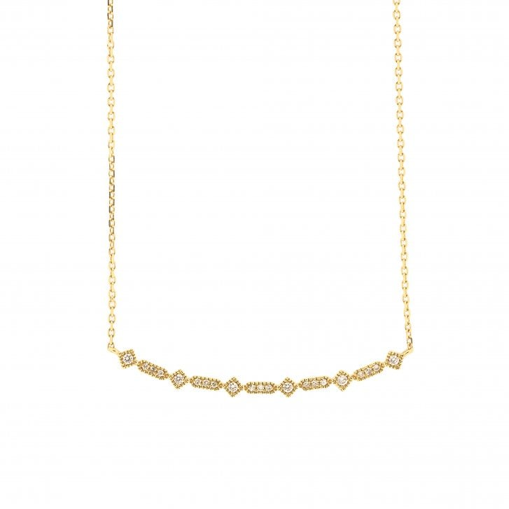 Richard Woo Geometric Diamond Bar Necklace with Mille Grain