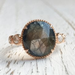 Gold Sheen Sapphire Ring in Rose Gold