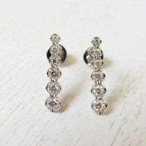 Richard Woo Graduated Diamond Bar Earrings in White Gold