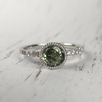 Richard Woo Green Sapphire Engagement Ring in White Gold