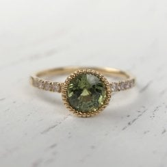 Richard Woo Green Sapphire Engagement Ring