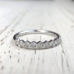 Honeycomb Diamond Half Eternity Ring in White Gold
