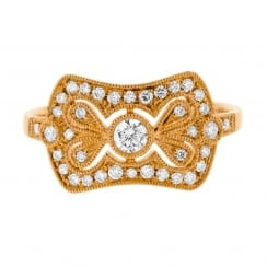 Intricate Diamond Panel Deco Style Rose Gold Ring