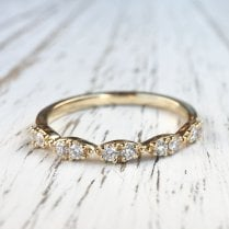 Marquise Scalloped Diamond Band in yellow Gold