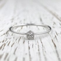 Mini White Gold Hexagon Ring with Diamond