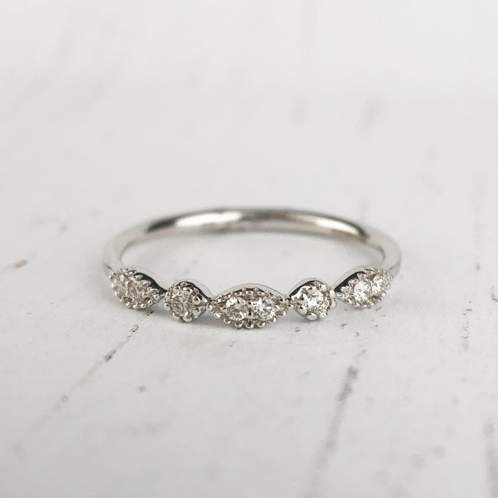 Richard Woo Navette and Circle Diamond Band in White Gold