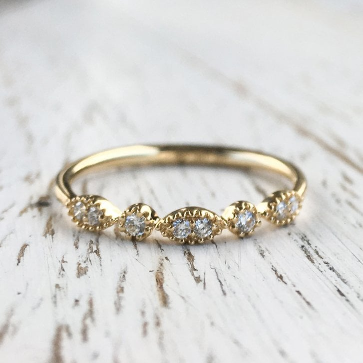 Richard Woo Navette and Circle Diamond Band in yellow Gold