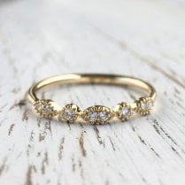 Navette and Circle Diamond Band in yellow Gold