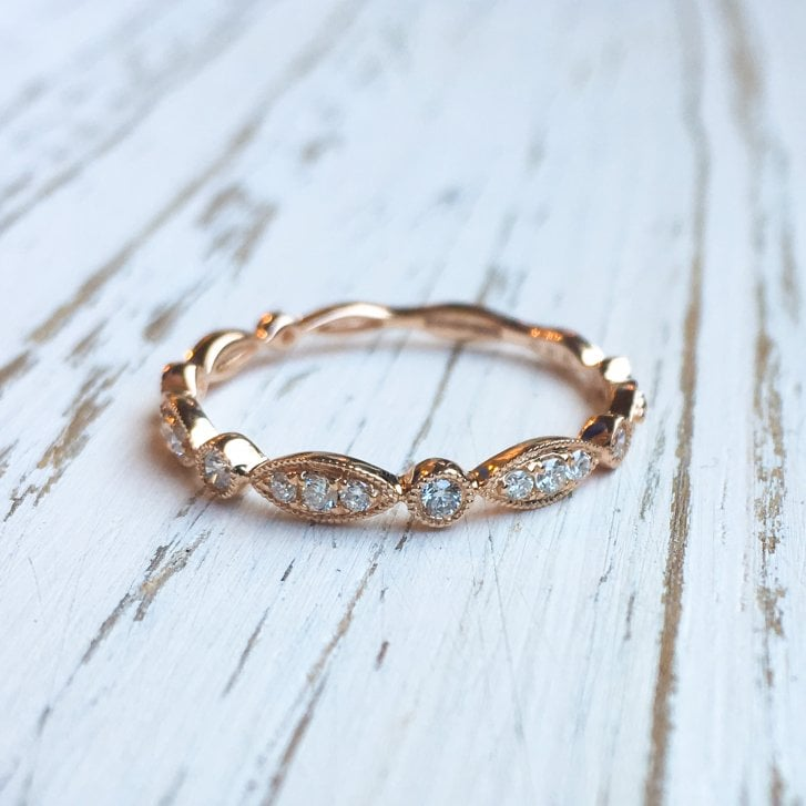 Richard Woo Navette and Round Diamond Tiara Band in Rose Gold