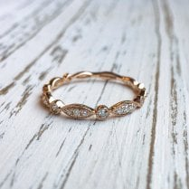 Navette and Round Elements Band in Rose gold