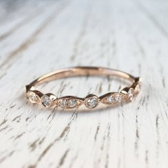 Navette & Circle Diamond Band in Rose Gold