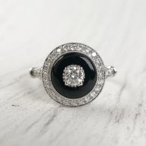 Richard Woo Onyx and Diamond Target Ring in White Gold
