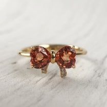 Richard Woo Orange Sapphire Bow Ring