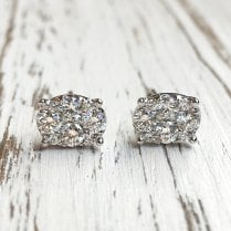 Oval Diamond Cluster Stud Earrings