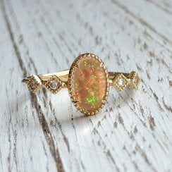 Oval Opal Ring with Mille Grain