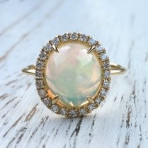 Oval Opal with Diamond Halo Ring