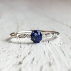 Oval Sapphire and Diamond Accent Ring