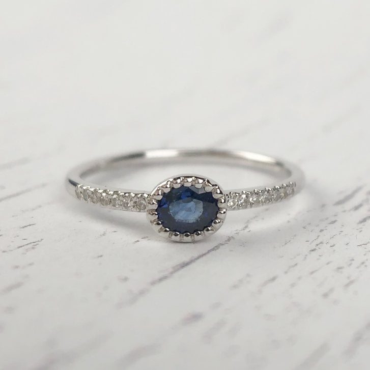 Richard Woo Oval Sapphire and Diamond Ring