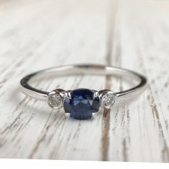 Oval sapphire and Diamond Trilogy Ring