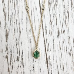 Pear Emerald and Diamond Necklace